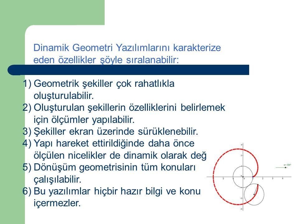 Dinamik Geometri Yazılımları (DGY): Dinamik geometri yazılımları (DGY), Cabri Geometry, Geometer's Skechpad ve Cinderella gibi geometri için geliştiri