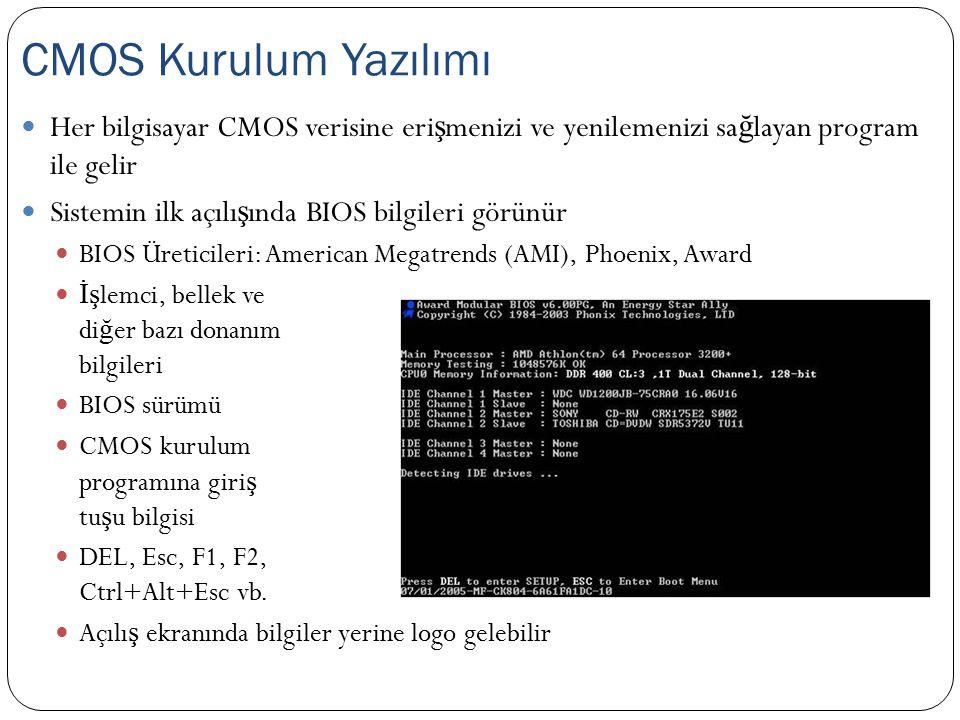 Her bilgisayar CMOS verisine eri ş menizi ve yenilemenizi sa ğ layan program ile gelir Sistemin ilk açılı ş ında BIOS bilgileri görünür BIOS Üreticile