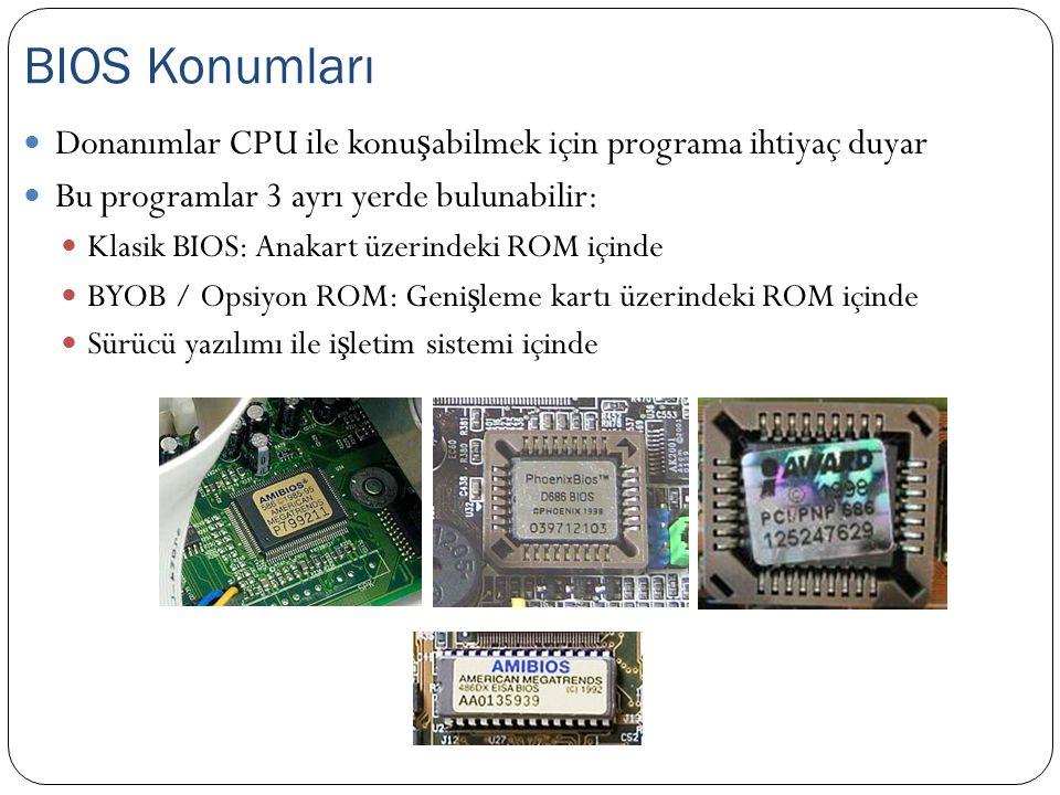 Donanımlar CPU ile konu ş abilmek için programa ihtiyaç duyar Bu programlar 3 ayrı yerde bulunabilir: Klasik BIOS: Anakart üzerindeki ROM içinde BYOB