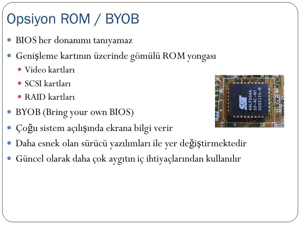 BIOS her donanımı tanıyamaz Geni ş leme kartının üzerinde gömülü ROM yongası Video kartları SCSI kartları RAID kartları BYOB (Bring your own BIOS) Ço