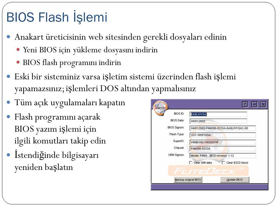 Anakart üreticisinin web sitesinden gerekli dosyaları edinin Yeni BIOS için yükleme dosyasını indirin BIOS flash programını indirin Eski bir sistemini
