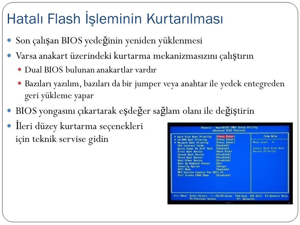 Son çalı ş an BIOS yede ğ inin yeniden yüklenmesi Varsa anakart üzerindeki kurtarma mekanizmasızını çalı ş tırın Dual BIOS bulunan anakartlar vardır B