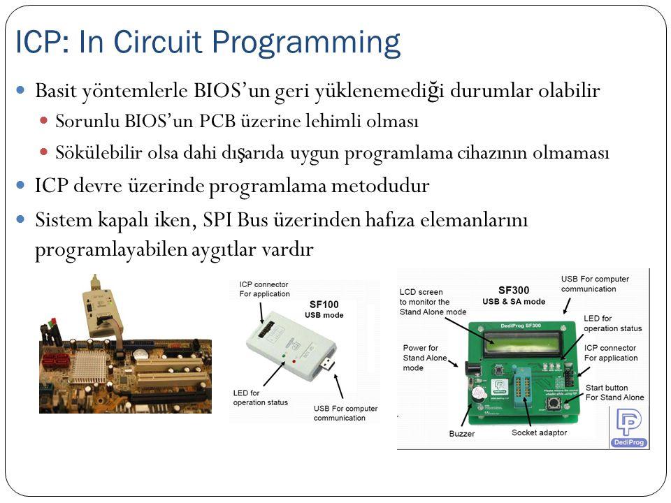 Basit yöntemlerle BIOS'un geri yüklenemedi ğ i durumlar olabilir Sorunlu BIOS'un PCB üzerine lehimli olması Sökülebilir olsa dahi dı ş arıda uygun pro