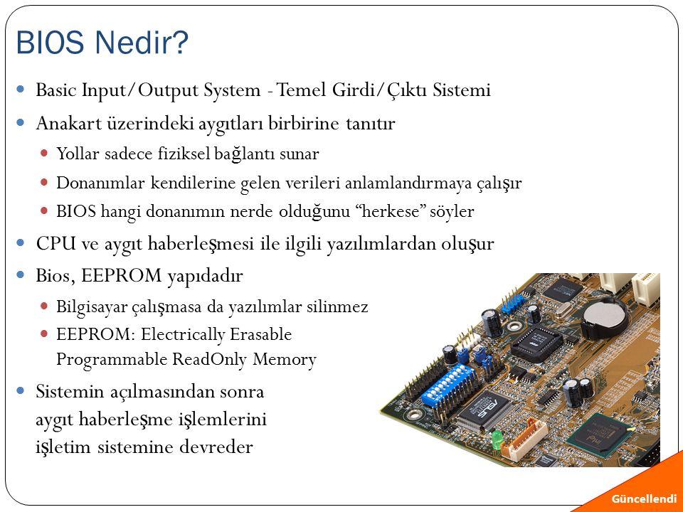 Basic Input/Output System - Temel Girdi/Çıktı Sistemi Anakart üzerindeki aygıtları birbirine tanıtır Yollar sadece fiziksel ba ğ lantı sunar Donanımla