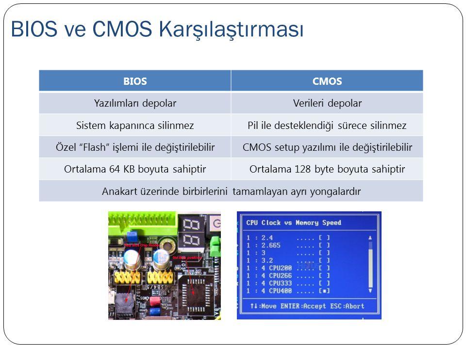 """BIOS ve CMOS Karşılaştırması BIOSCMOS Yazılımları depolarVerileri depolar Sistem kapanınca silinmezPil ile desteklendiği sürece silinmez Özel """"Flash"""""""