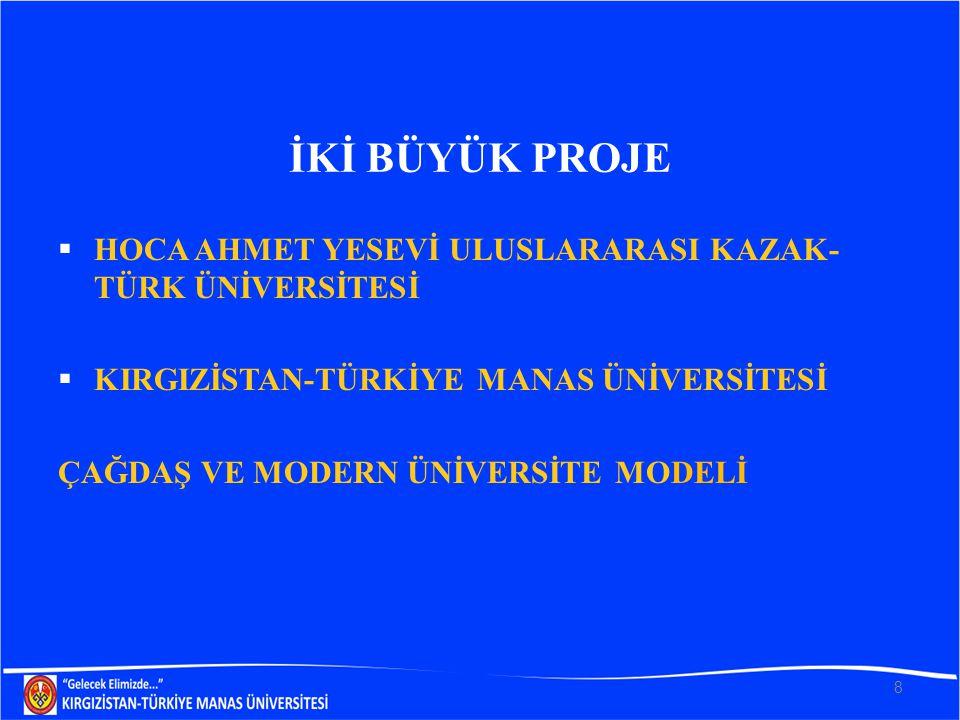 İKİ BÜYÜK PROJE  HOCA AHMET YESEVİ ULUSLARARASI KAZAK- TÜRK ÜNİVERSİTESİ  KIRGIZİSTAN-TÜRKİYE MANAS ÜNİVERSİTESİ ÇAĞDAŞ VE MODERN ÜNİVERSİTE MODELİ 8
