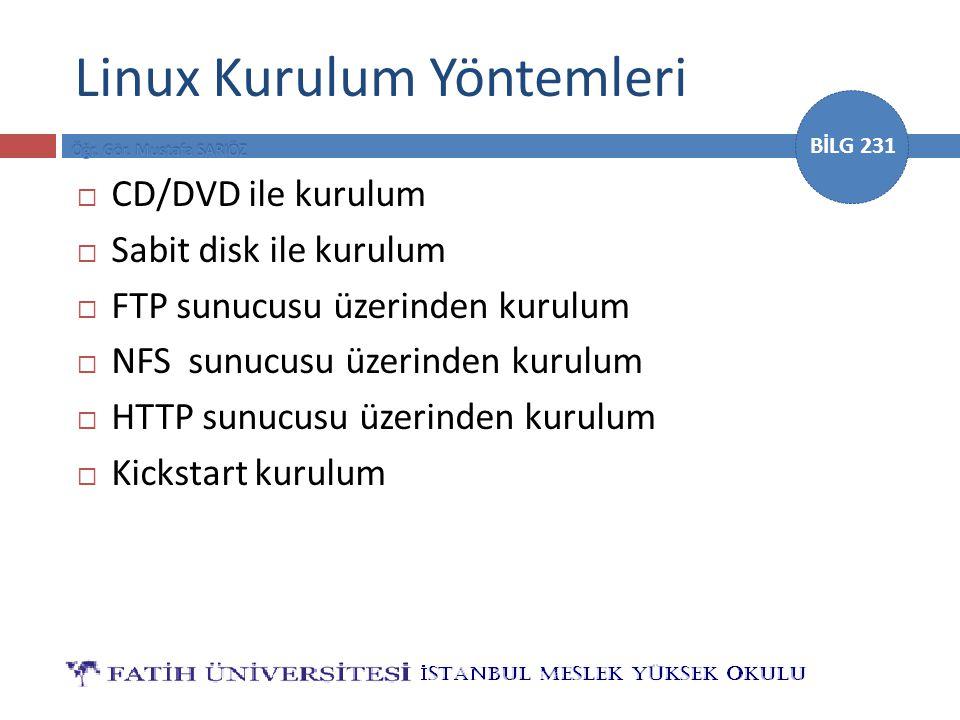 BİLG 231 Linux Kurulum Yöntemleri  CD/DVD ile kurulum  Sabit disk ile kurulum  FTP sunucusu üzerinden kurulum  NFS sunucusu üzerinden kurulum  HTTP sunucusu üzerinden kurulum  Kickstart kurulum