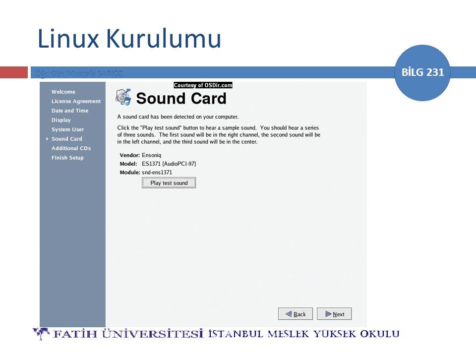 BİLG 231 Linux Kurulumu
