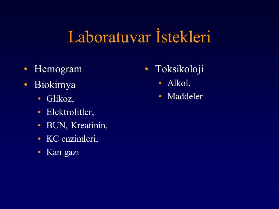 Laboratuvar İstekleri Hemogram Biokimya Glikoz, Elektrolitler, BUN, Kreatinin, KC enzimleri, Kan gazı Toksikoloji Alkol, Maddeler