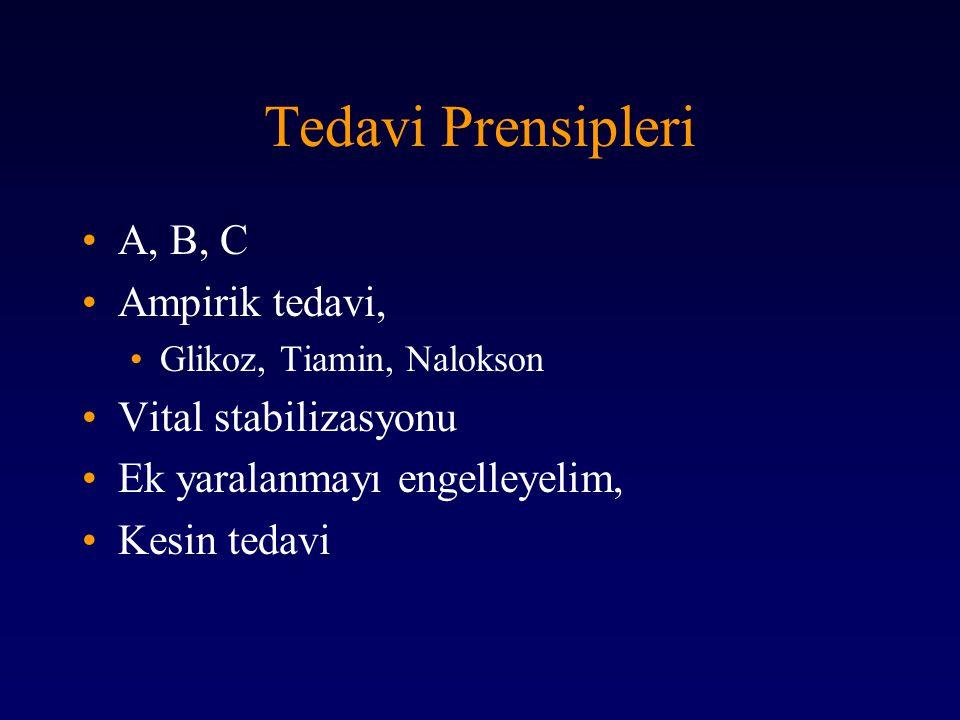 Tedavi Prensipleri A, B, C Ampirik tedavi, Glikoz, Tiamin, Nalokson Vital stabilizasyonu Ek yaralanmayı engelleyelim, Kesin tedavi