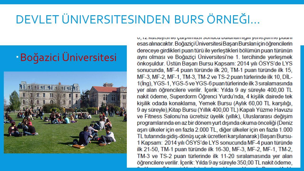 DEVLET ÜNIVERSITESINDEN BURS ÖRNEĞI…  Boğazici Üniversitesi