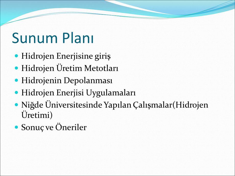 Sunum Planı Hidrojen Enerjisine giriş Hidrojen Üretim Metotları Hidrojenin Depolanması Hidrojen Enerjisi Uygulamaları Niğde Üniversitesinde Yapılan Ça