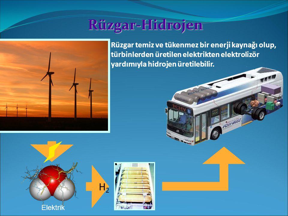 Rüzgar-Hidrojen Rüzgar temiz ve tükenmez bir enerji kaynağı olup, türbinlerden üretilen elektrikten elektrolizör yardımıyla hidrojen üretilebilir. H2H