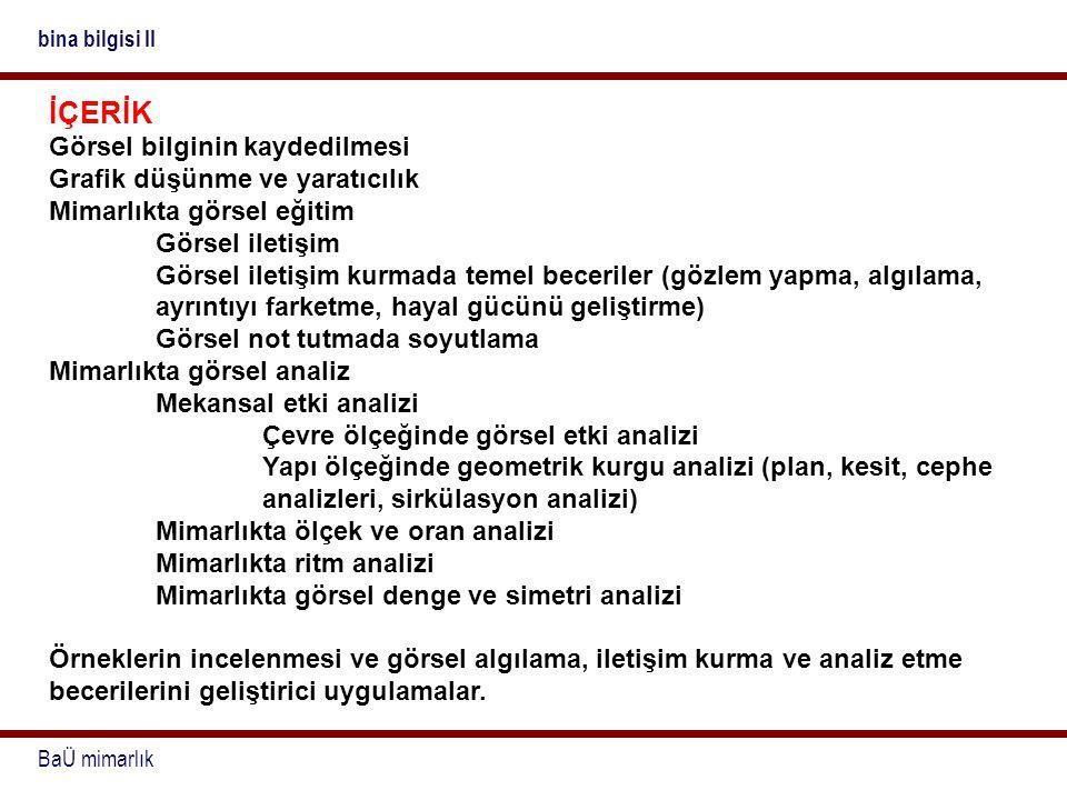 BaÜ mimarlık bina bilgisi II KAYNAKLAR Aydınlı, S.;Mimarlıkta Görsel Analiz, İTÜ Mimarlık Fakültesi Baskı Atölyesi, İstanbul, 1992.