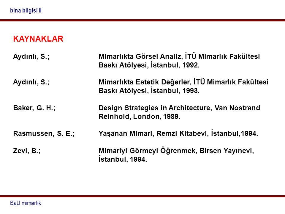 BaÜ mimarlık bina bilgisi II KAYNAKLAR Aydınlı, S.;Mimarlıkta Görsel Analiz, İTÜ Mimarlık Fakültesi Baskı Atölyesi, İstanbul, 1992. Aydınlı, S.;Mimarl