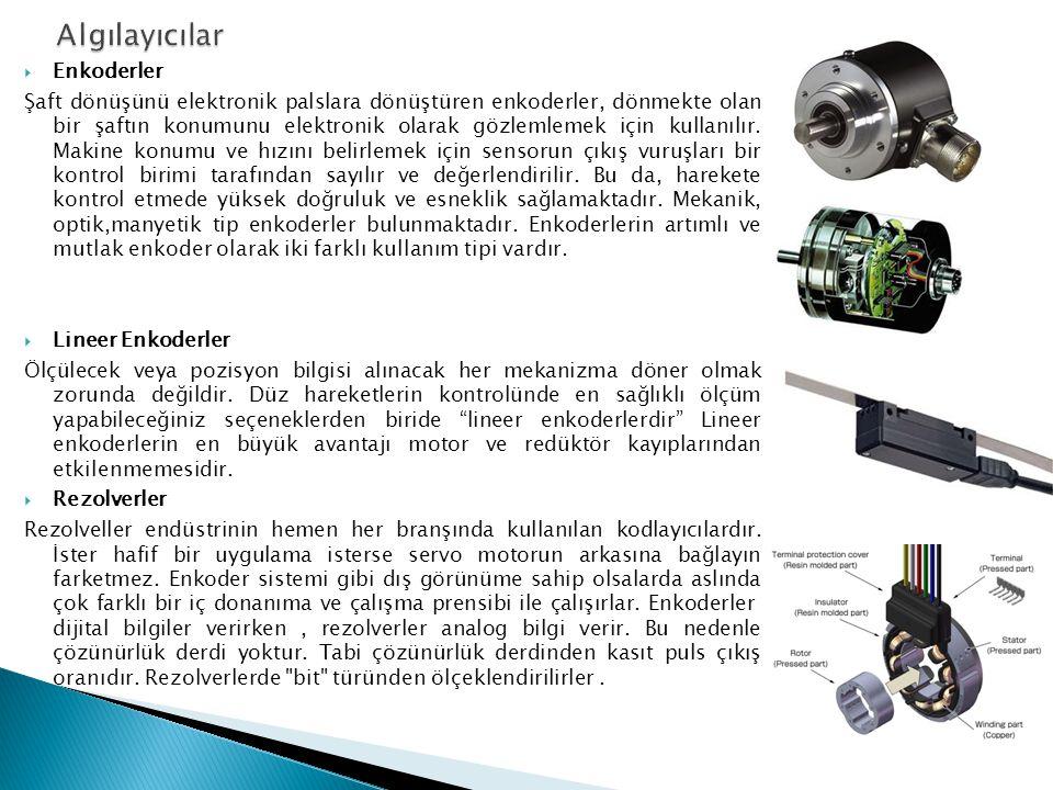  Enkoderler Şaft dönüşünü elektronik palslara dönüştüren enkoderler, dönmekte olan bir şaftın konumunu elektronik olarak gözlemlemek için kullanılır.