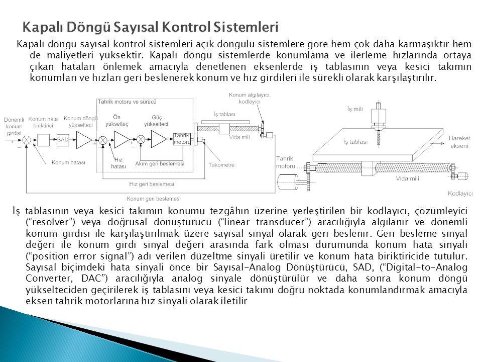 Kapalı döngü sayısal kontrol sistemleri açık döngülü sistemlere göre hem çok daha karmaşıktır hem de maliyetleri yüksektir. Kapalı döngü sistemlerde k