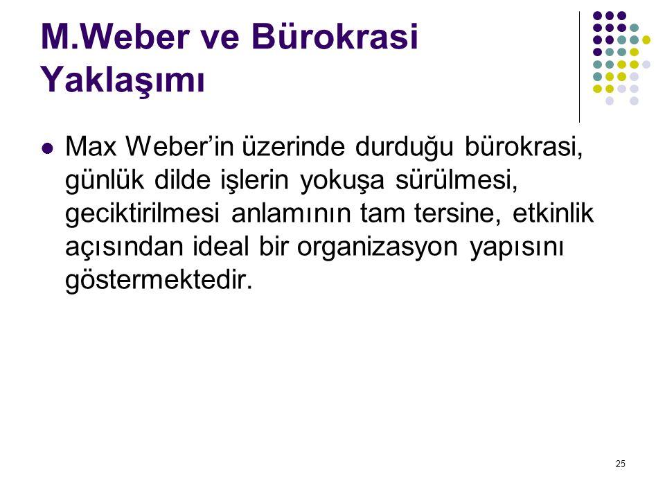 25 M.Weber ve Bürokrasi Yaklaşımı Max Weber'in üzerinde durduğu bürokrasi, günlük dilde işlerin yokuşa sürülmesi, geciktirilmesi anlamının tam tersine