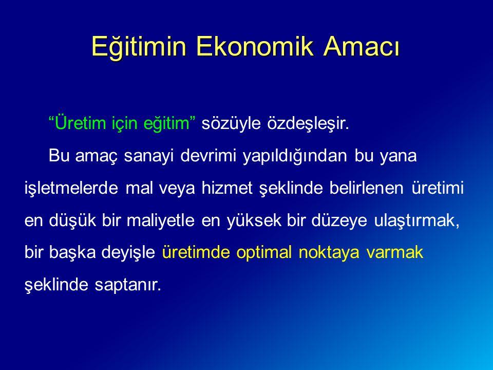 Eğitimin Ekonomik Amacı Üretim için eğitim sözüyle özdeşleşir.