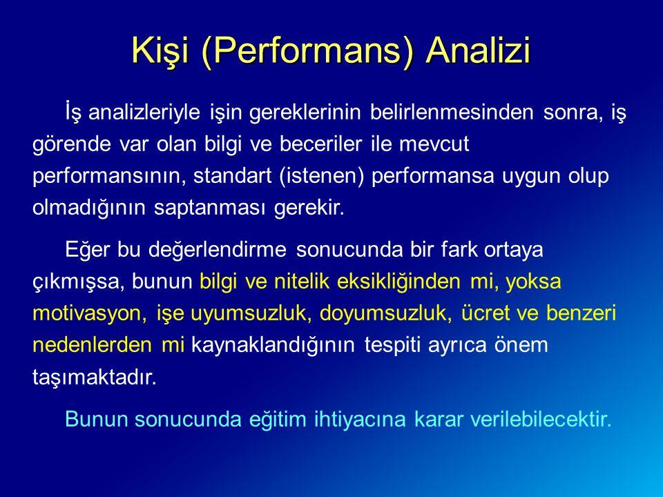 Kişi (Performans) Analizi İş analizleriyle işin gereklerinin belirlenmesinden sonra, iş görende var olan bilgi ve beceriler ile mevcut performansının, standart (istenen) performansa uygun olup olmadığının saptanması gerekir.