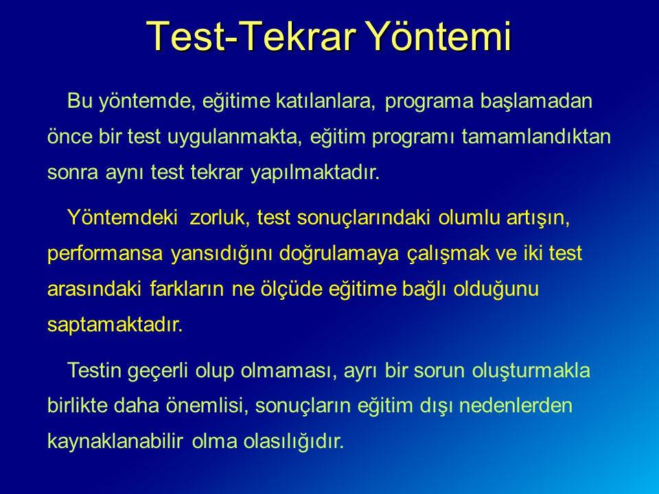 Test-Tekrar Yöntemi Bu yöntemde, eğitime katılanlara, programa başlamadan önce bir test uygulanmakta, eğitim programı tamamlandıktan sonra aynı test tekrar yapılmaktadır.