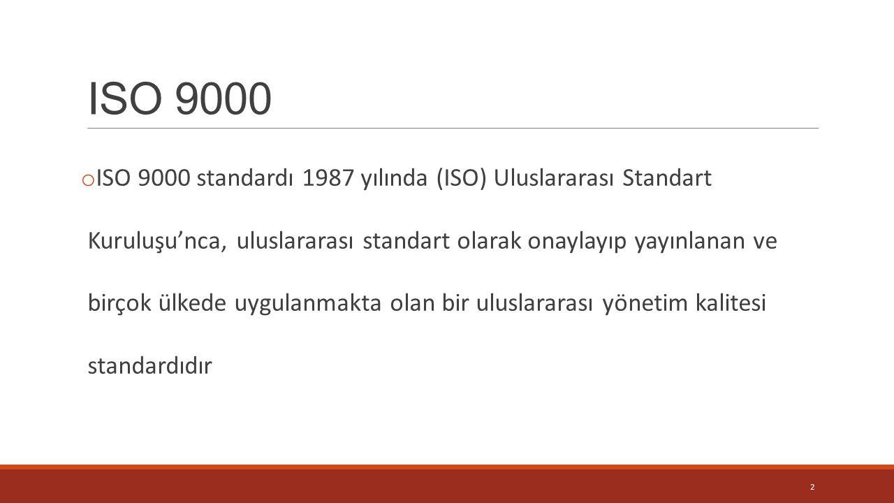 ISO 9000 o ISO 9000 standardı 1987 yılında (ISO) Uluslararası Standart Kuruluşu'nca, uluslararası standart olarak onaylayıp yayınlanan ve birçok ülkede uygulanmakta olan bir uluslararası yönetim kalitesi standardıdır 2