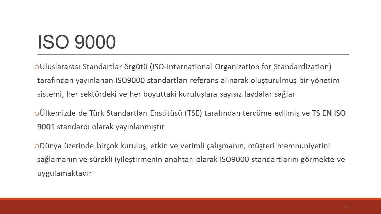 ISO 9000 o Uluslararası Standartlar örgütü (ISO-International Organization for Standardization) tarafından yayınlanan ISO9000 standartları referans alınarak oluşturulmuş bir yönetim sistemi, her sektördeki ve her boyuttaki kuruluşlara sayısız faydalar sağlar TS EN ISO 9001 o Ülkemizde de Türk Standartları Enstitüsü (TSE) tarafından tercüme edilmiş ve TS EN ISO 9001 standardı olarak yayınlanmıştır o Dünya üzerinde birçok kuruluş, etkin ve verimli çalışmanın, müşteri memnuniyetini sağlamanın ve sürekli iyileştirmenin anahtarı olarak ISO9000 standartlarını görmekte ve uygulamaktadır 5