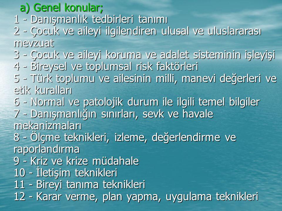a) Genel konular; 1 - Danışmanlık tedbirleri tanımı 2 - Çocuk ve aileyi ilgilendiren ulusal ve uluslararası mevzuat 3 - Çocuk ve aileyi koruma ve adalet sisteminin işleyişi 4 - Bireysel ve toplumsal risk faktörleri 5 - Türk toplumu ve ailesinin milli, manevi değerleri ve etik kuralları 6 - Normal ve patolojik durum ile ilgili temel bilgiler 7 - Danışmanlığın sınırları, sevk ve havale mekanizmaları 8 - Ölçme teknikleri, izleme, değerlendirme ve raporlandırma 9 - Kriz ve krize müdahale 10 - İletişim teknikleri 11 - Bireyi tanıma teknikleri 12 - Karar verme, plan yapma, uygulama teknikleri a) Genel konular; 1 - Danışmanlık tedbirleri tanımı 2 - Çocuk ve aileyi ilgilendiren ulusal ve uluslararası mevzuat 3 - Çocuk ve aileyi koruma ve adalet sisteminin işleyişi 4 - Bireysel ve toplumsal risk faktörleri 5 - Türk toplumu ve ailesinin milli, manevi değerleri ve etik kuralları 6 - Normal ve patolojik durum ile ilgili temel bilgiler 7 - Danışmanlığın sınırları, sevk ve havale mekanizmaları 8 - Ölçme teknikleri, izleme, değerlendirme ve raporlandırma 9 - Kriz ve krize müdahale 10 - İletişim teknikleri 11 - Bireyi tanıma teknikleri 12 - Karar verme, plan yapma, uygulama teknikleri