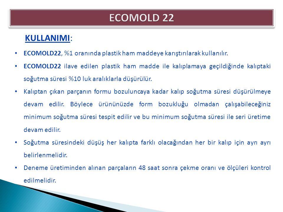 ECOMOLD22, %1 oranında plastik ham maddeye karıştırılarak kullanılır. ECOMOLD22 ilave edilen plastik ham madde ile kalıplamaya geçildiğinde kalıptaki