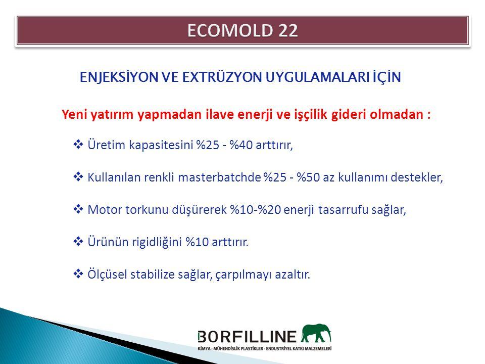 ENJEKSİYON VE EXTRÜZYON UYGULAMALARI İÇİN Yeni yatırım yapmadan ilave enerji ve işçilik gideri olmadan :  Üretim kapasitesini %25 - %40 arttırır,  K