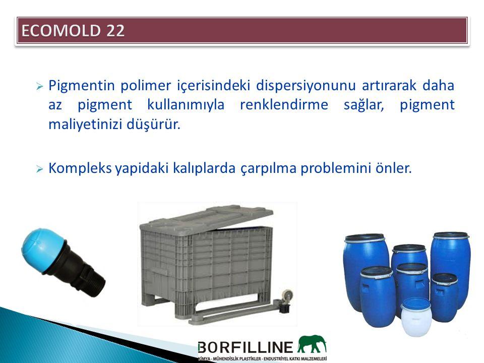 MalzemeKopma Mukavemeti (Psi)Flexural Modules (Psi) PP3.000112.000 PP + %1 ECOMOLD 223.050125.000  Malzemenin çekme ve kopma değerlerini yükseltir.