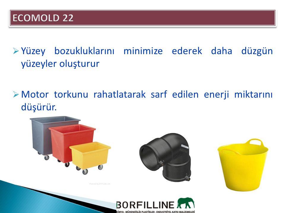 ECOMOLD 22 Brabender Torque Rheometer Çalışmalarına Dayalı Ekstrüzyon karakteristikleri Malzeme Formülasyon Yükleme Torku veya Enerji İhtiyacı Aynı Torktaki Erime Viskozitesi Erime Sıcaklığına Etkisi, F Basınç Akış Değişimi PP - Kontrol 1000330207%5 PP + 1 % ECOMOLD 22900360205%4 PP + 3 % ECOMOLD 22800390204%1,5 PE - Kontrol1200450206%6 PE+1 % ECOMOLD 221000480205%3 PE+5 % ECOMOLD 22850510205%2 Nylon 66 - Kontrol800480280%6 Nylon 66 +1% ECOMOLD 22 700490277%4 Nylon 66 +3 % ECOMOLD22 625510276%10,50 ECOMOLD 22'un Extrüzyon Uygulamalarındaki Etkileri Extrüzyondaki Enerji ihtiyacını düşürmekte çok etkili.