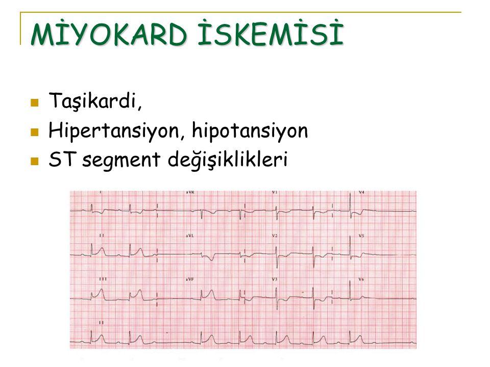 MİYOKARD İSKEMİSİ Taşikardi, Hipertansiyon, hipotansiyon ST segment değişiklikleri
