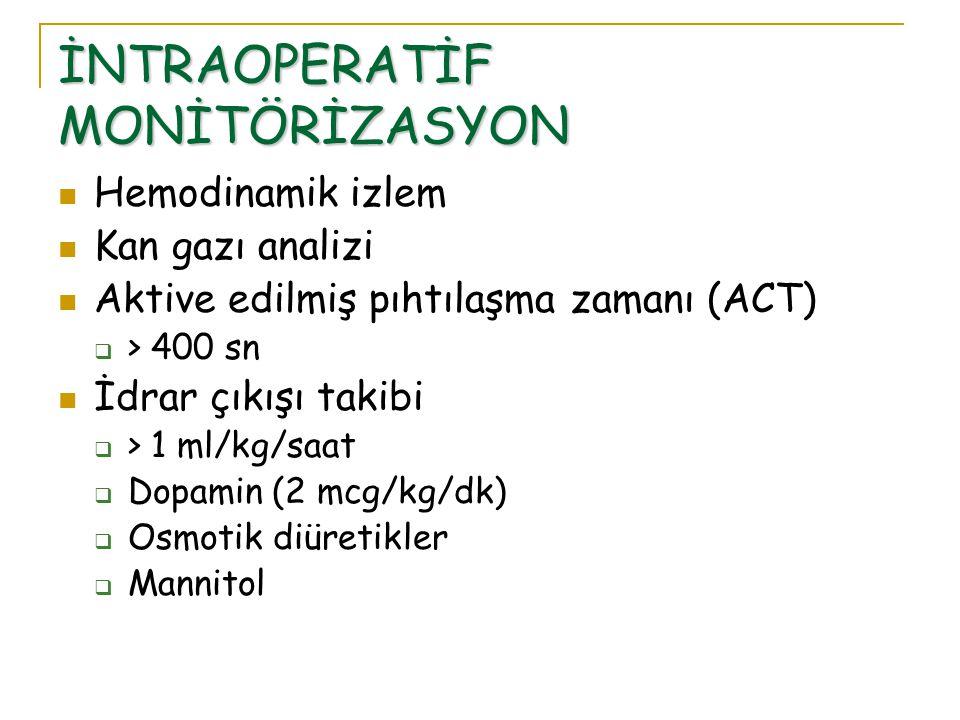 İNTRAOPERATİF MONİTÖRİZASYON Hemodinamik izlem Kan gazı analizi Aktive edilmiş pıhtılaşma zamanı (ACT)  > 400 sn İdrar çıkışı takibi  > 1 ml/kg/saat