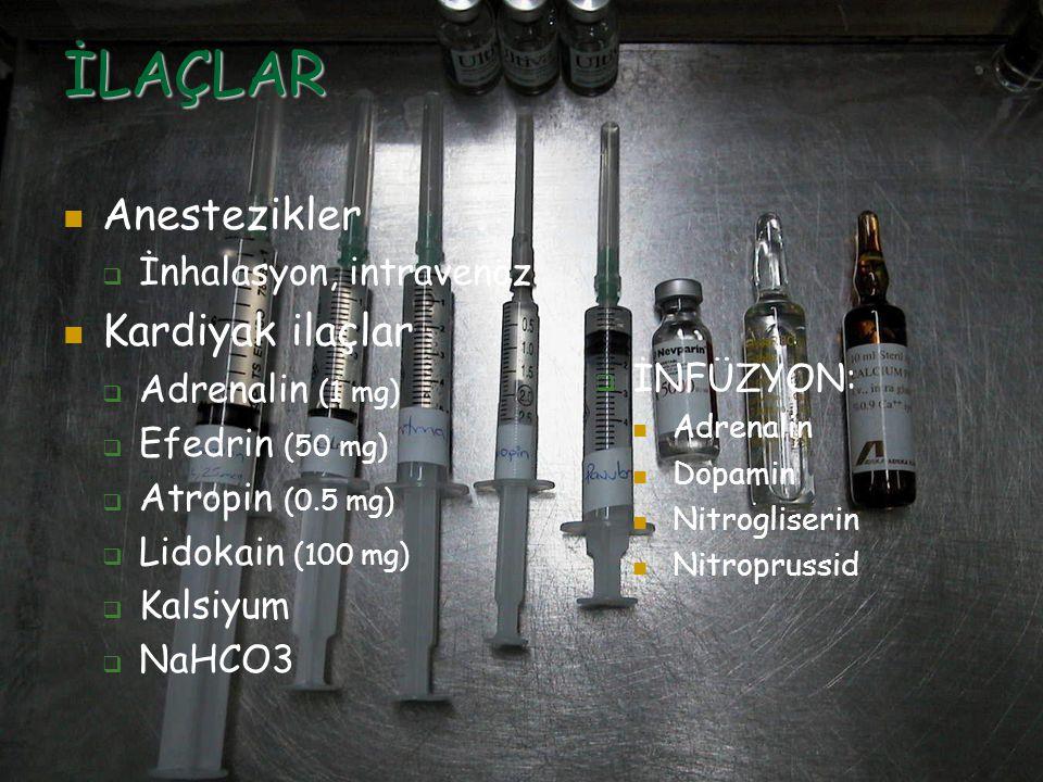 İLAÇLAR Anestezikler  İnhalasyon, intravenöz Kardiyak ilaçlar  Adrenalin (1 mg)  Efedrin (50 mg)  Atropin (0.5 mg)  Lidokain (100 mg)  Kalsiyum