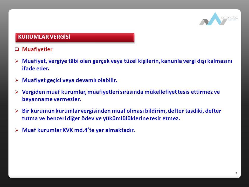  İstisnalar  Kurumlar Vergisi Kanununda Yer Alan İstisnalar İştirak kazançları (KVK.md.5/1-a) Yurt dışı iştirak kazançları (KVK.md.5/1-b) Tam mükellef anonim şirketlerin yurt dışı iştirak hisseleri satış kazançları (KVK.md.5/1-c) Emisyon primi kazancı (KVK.md.5/1-ç) Türkiye'de kurulu fonlar ile yatırım ortaklıklarının portföy işl.kazancı (KVK.md.5/1-d) Taşınmazlar ve iştirak hisseleri ile kurucu senetleri, intifa senetleri ve rüçhan hakları satış kazancı (KVK.md.5/1-e) Bankalara veya TMSF'ye borçlu durumda olan kurumlar ile bankaların satış kazancı (KVK.md.5/1-f) 8 KURUMLAR VERGİSİ