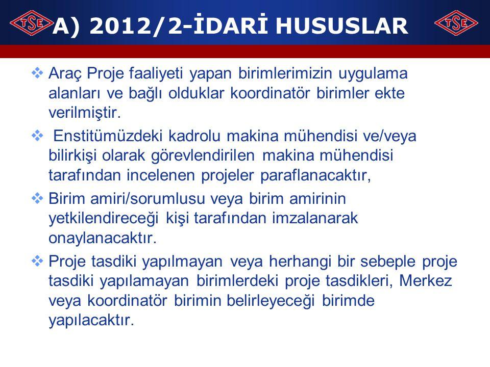 A) 2012/2-İDARİ HUSUSLAR  Araç Proje faaliyeti yapan birimlerimizin uygulama alanları ve bağlı olduklar koordinatör birimler ekte verilmiştir.  Enst