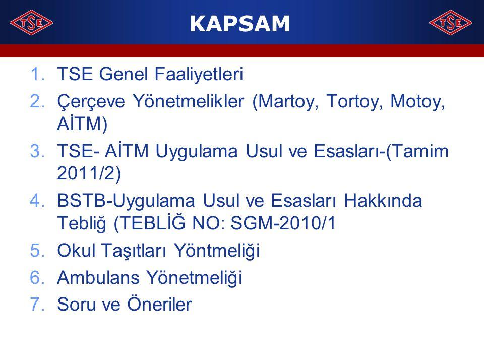 KAPSAM 1.TSE Genel Faaliyetleri 2.Çerçeve Yönetmelikler (Martoy, Tortoy, Motoy, AİTM) 3.TSE- AİTM Uygulama Usul ve Esasları-(Tamim 2011/2) 4.BSTB-Uygu
