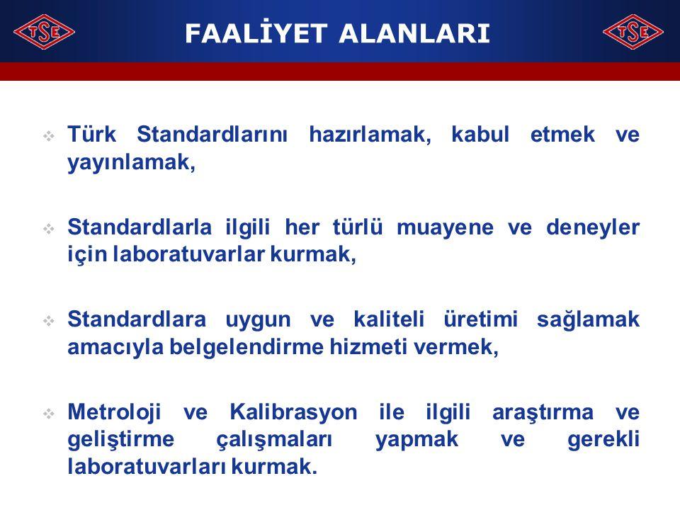 Türk Standardlarını hazırlamak, kabul etmek ve yayınlamak,  Standardlarla ilgili her türlü muayene ve deneyler için laboratuvarlar kurmak,  Standa