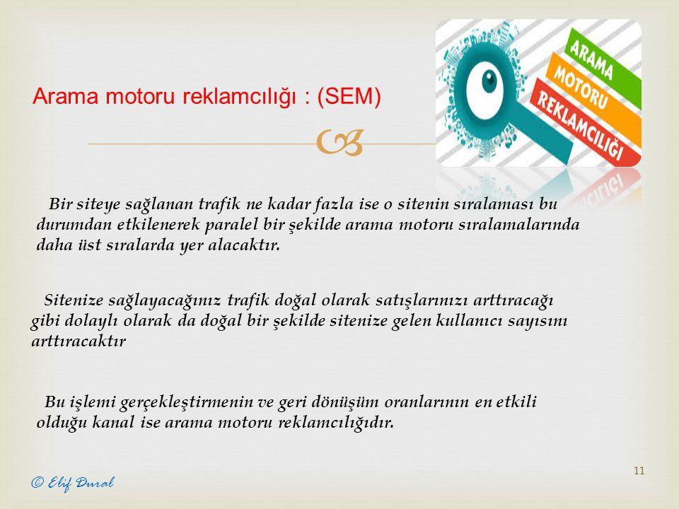  11 © Elif Dural Arama motoru reklamcılığı : (SEM) Bir siteye sağlanan trafik ne kadar fazla ise o sitenin sıralaması bu durumdan etkilenerek paralel bir şekilde arama motoru sıralamalarında daha üst sıralarda yer alacaktır.