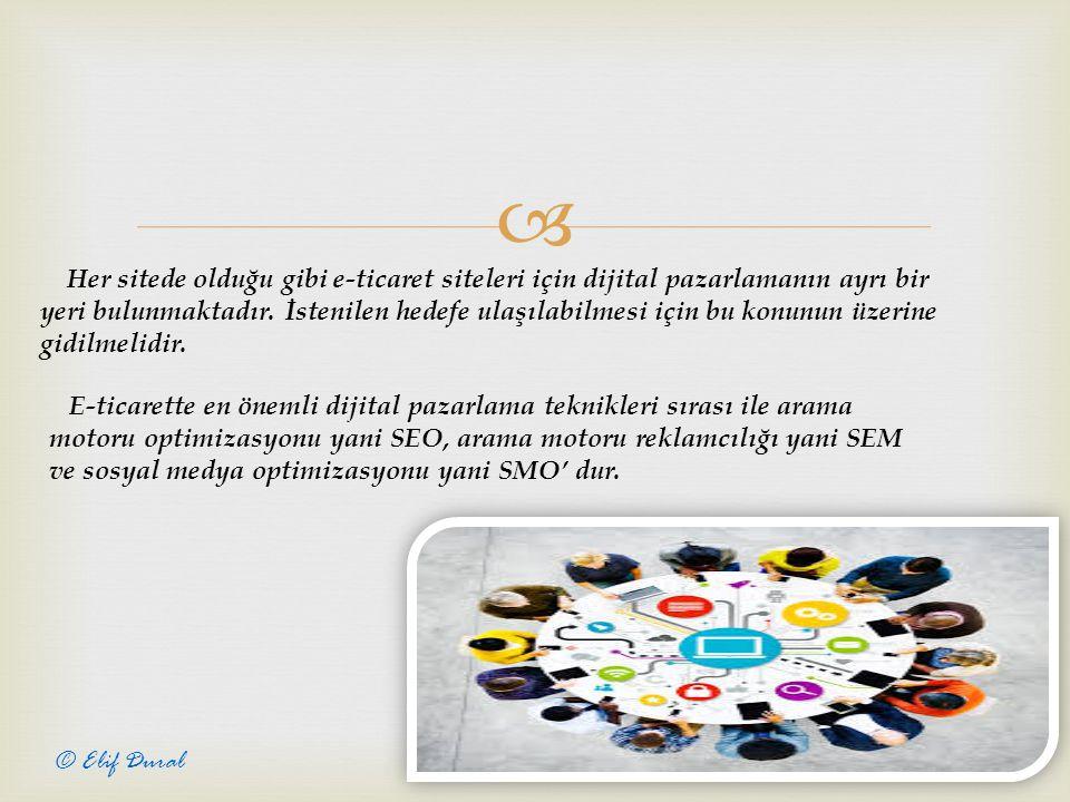  9 © Elif Dural Her sitede olduğu gibi e-ticaret siteleri için dijital pazarlamanın ayrı bir yeri bulunmaktadır.