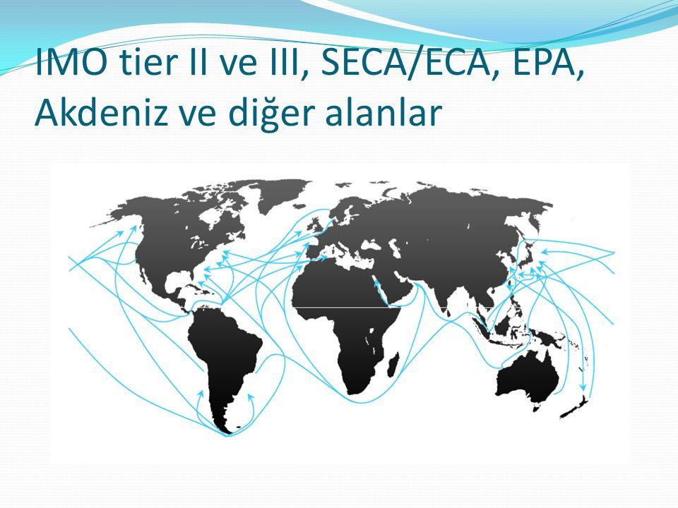 IMO tier II ve III, SECA/ECA, EPA, Akdeniz ve diğer alanlar 1 2 3 3