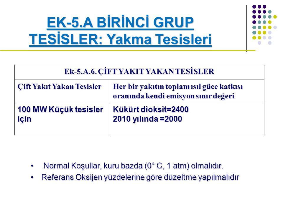 EK-5.A BİRİNCİ GRUP TESİSLER: Yakma Tesisleri Ek-5.A.6.
