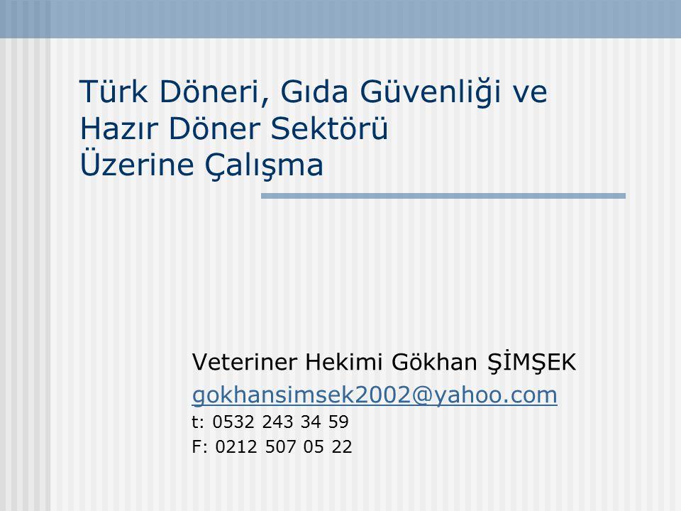 Türk Döneri, Gıda Güvenliği ve Hazır Döner Sektörü Üzerine Çalışma Veteriner Hekimi Gökhan ŞİMŞEK gokhansimsek2002@yahoo.com t: 0532 243 34 59 F: 0212