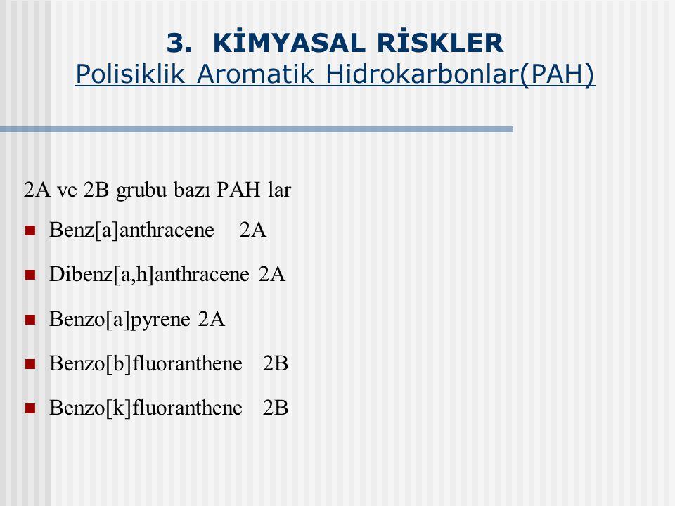 3. KİMYASAL RİSKLER Polisiklik Aromatik Hidrokarbonlar(PAH) 2A ve 2B grubu bazı PAH lar Benz[a]anthracene 2A Dibenz[a,h]anthracene 2A Benzo[a]pyrene 2