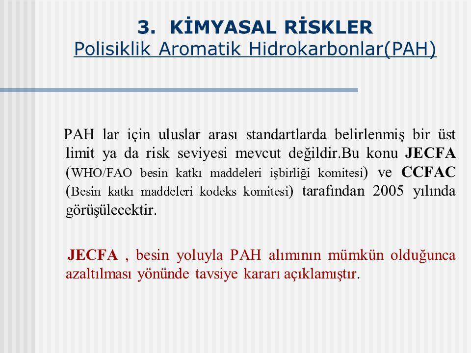 3. KİMYASAL RİSKLER Polisiklik Aromatik Hidrokarbonlar(PAH) PAH lar için uluslar arası standartlarda belirlenmiş bir üst limit ya da risk seviyesi mev