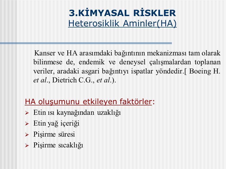 3.KİMYASAL RİSKLER Heterosiklik Aminler(HA) Kanser ve HA arasımdaki bağıntının mekanizması tam olarak bilinmese de, endemik ve deneysel çalışmalardan