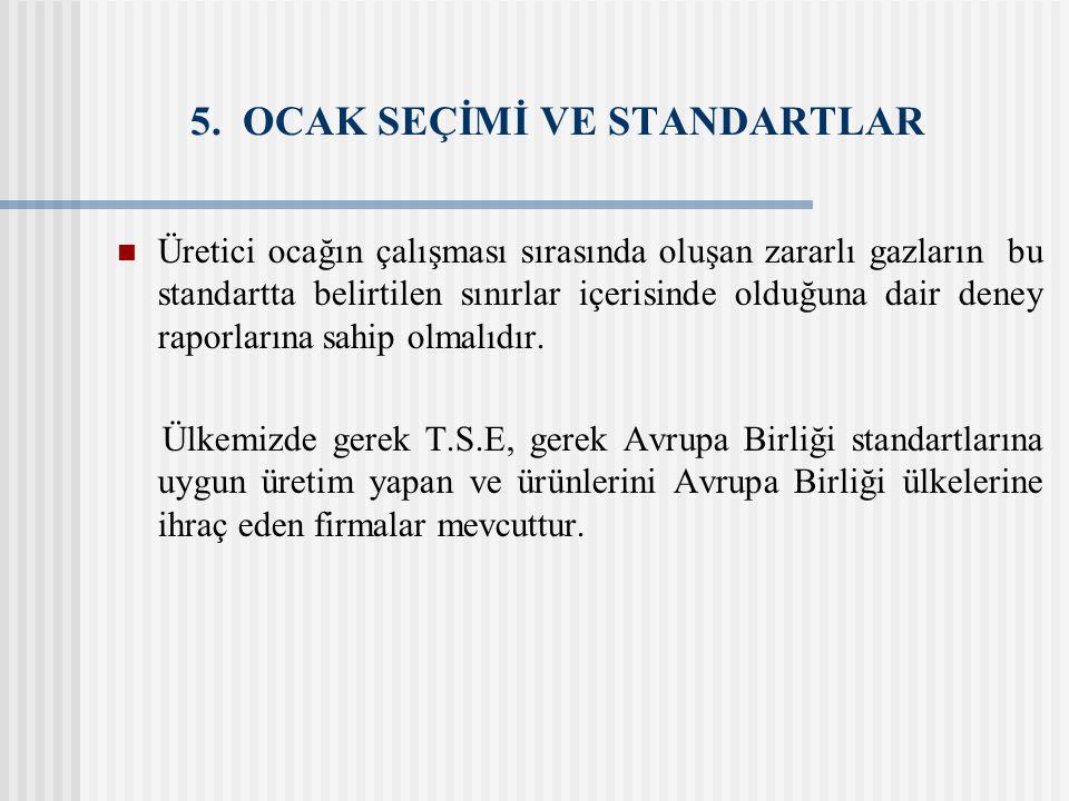 5. OCAK SEÇİMİ VE STANDARTLAR Üretici ocağın çalışması sırasında oluşan zararlı gazların bu standartta belirtilen sınırlar içerisinde olduğuna dair de