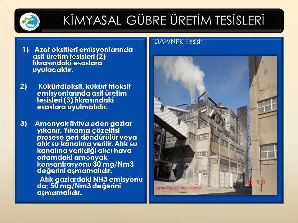 KİMYASAL GÜBRE ÜRETİM TESİSLERİ 1) Azot oksitleri emisyonlarında asit üretim tesisleri (2) fıkrasındaki esaslara uyulacaktır.