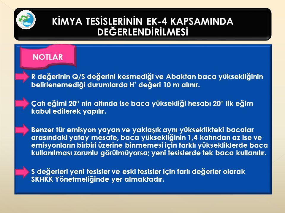 KİMYA TESİSLERİNİN EK-4 KAPSAMINDA DEĞERLENDİRİLMESİ NOTLAR